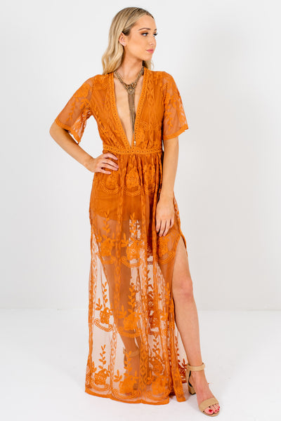 Tawny Orange Caramel Brown Lace Maxi Romper Dresses Boutique