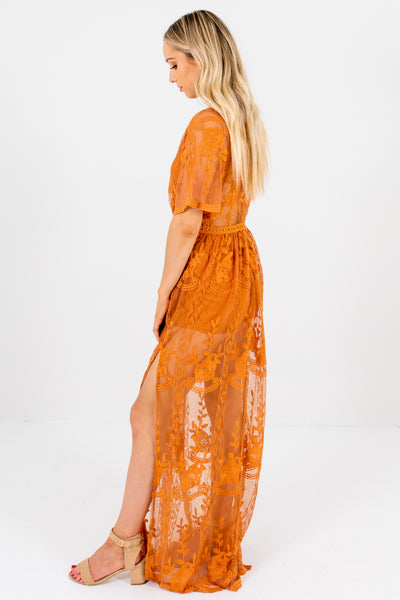 Tawny Orange Boutique Lace Romper Dresses for Women