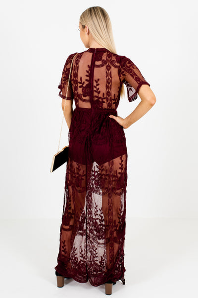 Wine Purple Floral Lace Overlay Romper Maxi Length Dresses