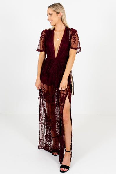 Wine Purple Floral Lace Maxi Overlay Romper Dresses for Women