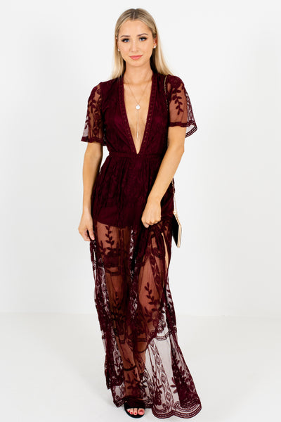 Wine Purple Plunging Deep V Floral Lace Maxi Romper Dresses