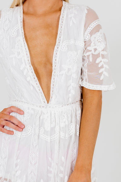 White Romper Lining Lace Maxi Dresses Affordable Online Boutique