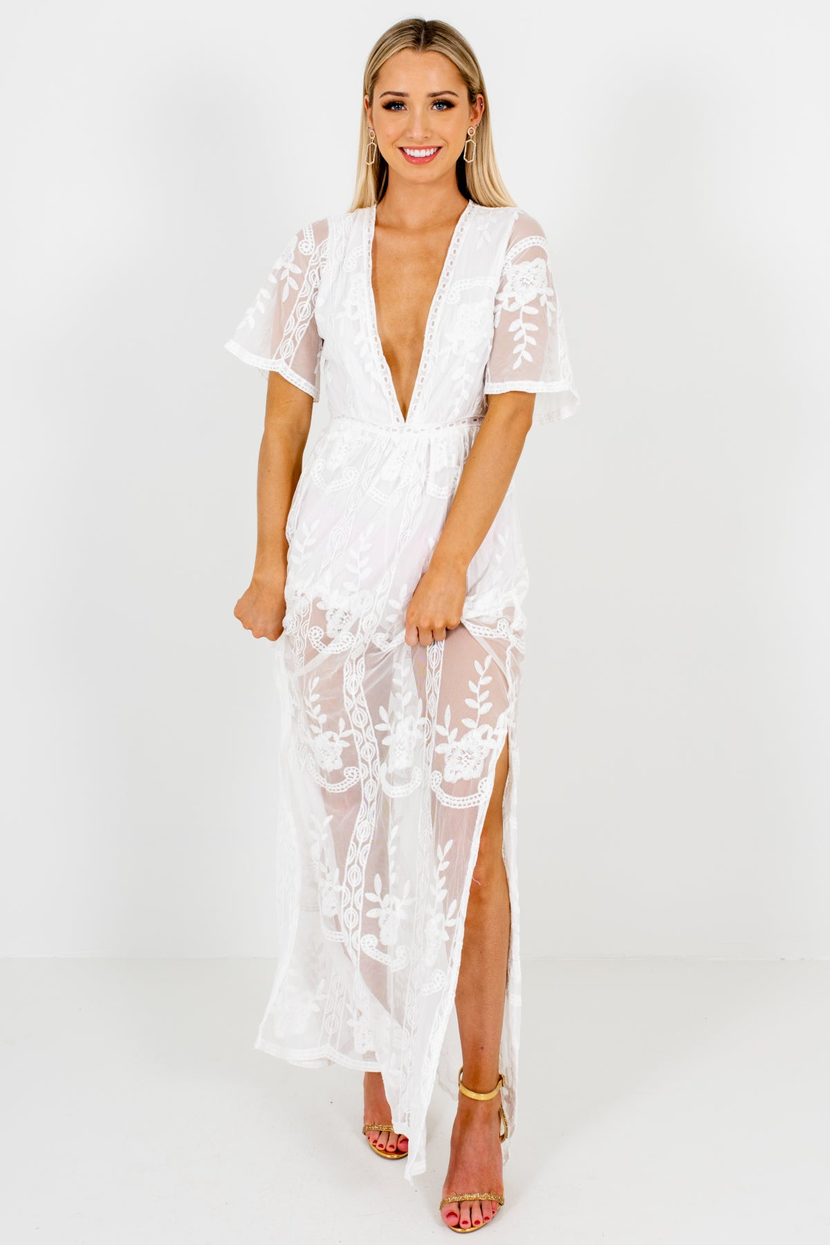 White Floral Crochet Lace Overlay Maxi Length Romper Dresses