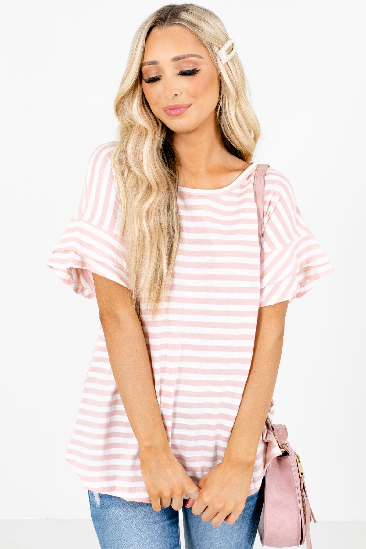Pink Striped Patterned Boutique Tops for Women