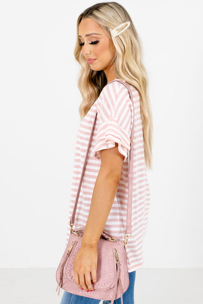 Women's Pink Ruffle Sleeve Boutique Top