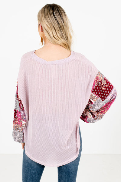 Women's Purple Bishop Sleeve Style Boutique Tops