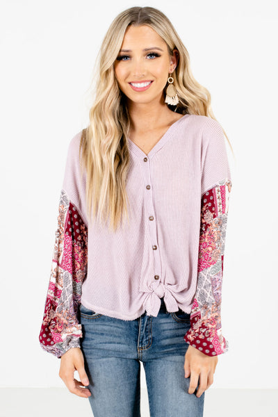 Lavender Purple Button-Up Front Boutique Tops for Women
