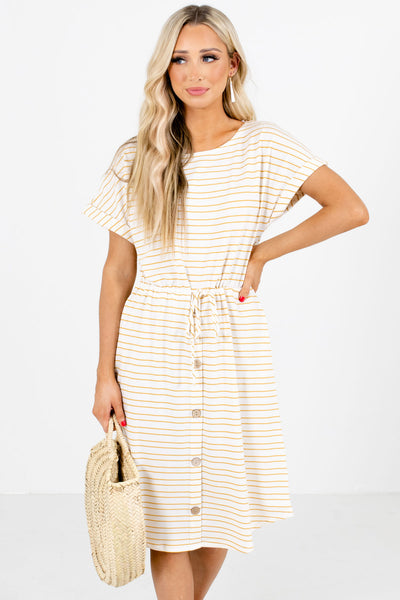 Yellow and White Striped Boutique Knee-Length Dresses for Women