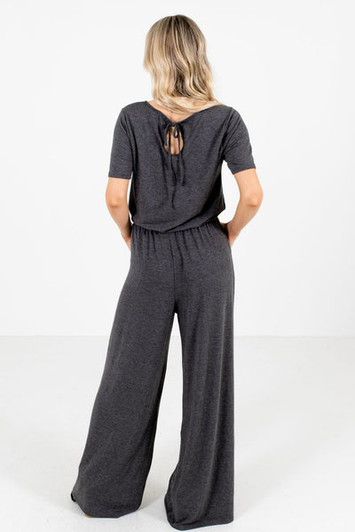 Women's Charcoal Gray Keyhole Back Boutique Jumpsuit