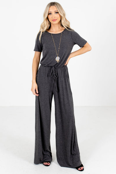 Charcoal Gray Drawstring Waistband Boutique Jumpsuits for Women