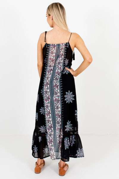 Women's Black Tassel Tie Detailed Boutique Maxi Dress