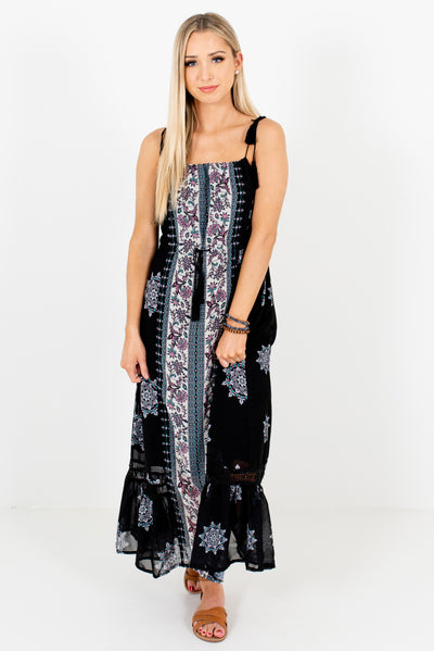 Black Patterned Boutique Maxi Length Dresses for Women
