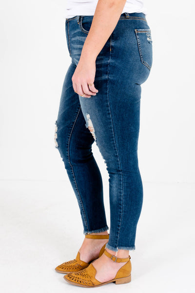 Medium Wash Blue Denim Plus Size Boutique Jeans with Pockets