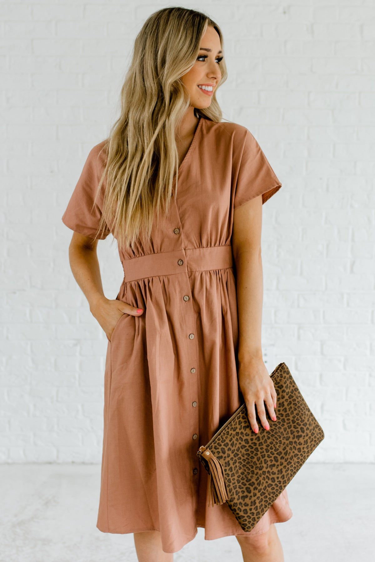 Dusty Rose Pink Knee-Length Boutique Dresses for Women