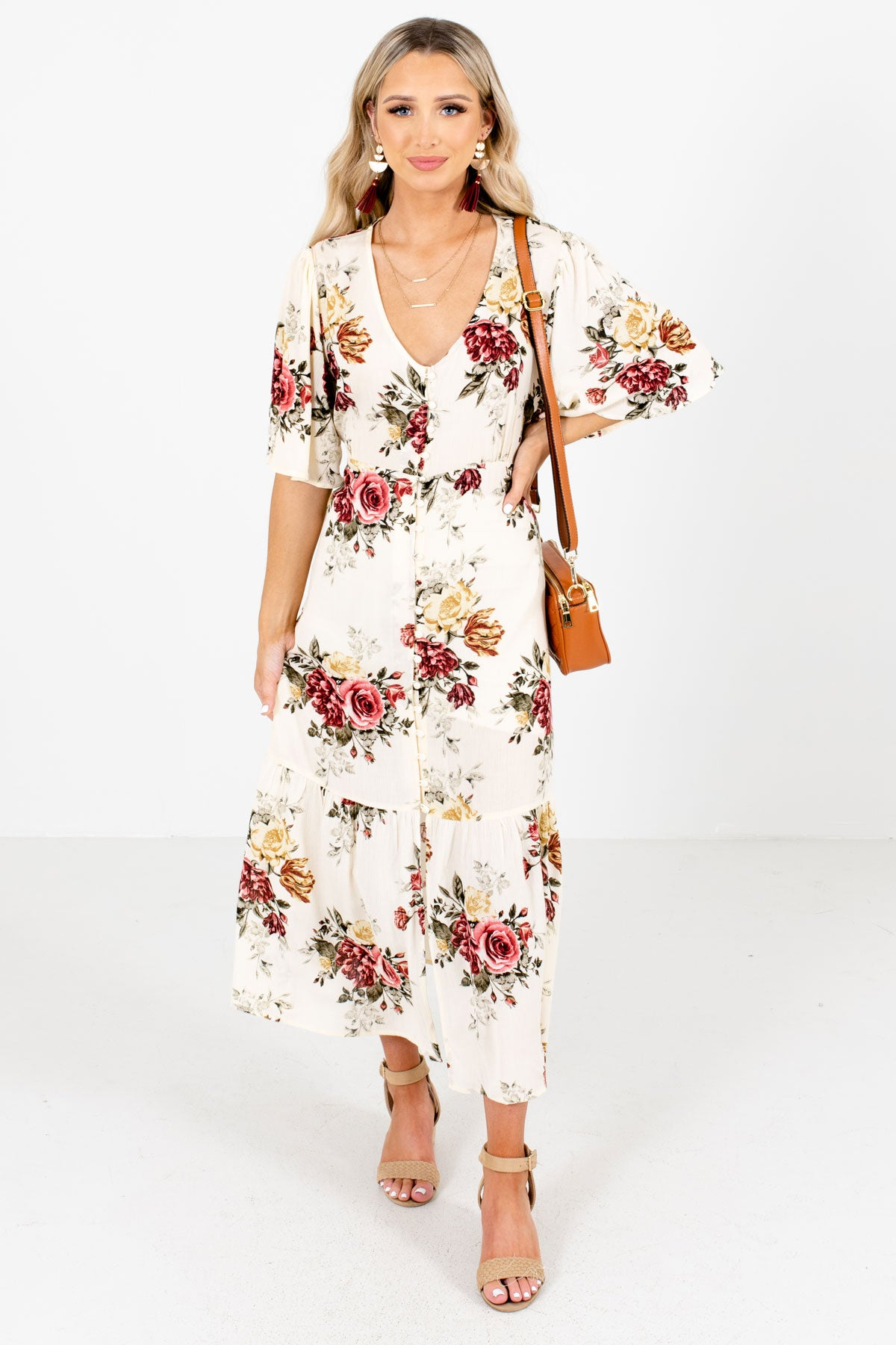 Cream Multicolored Floral Patterned Boutique Maxi Dresses for Women