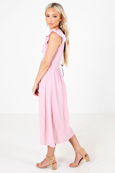 Pink Partially Lined Boutique Midi Dresses for Women