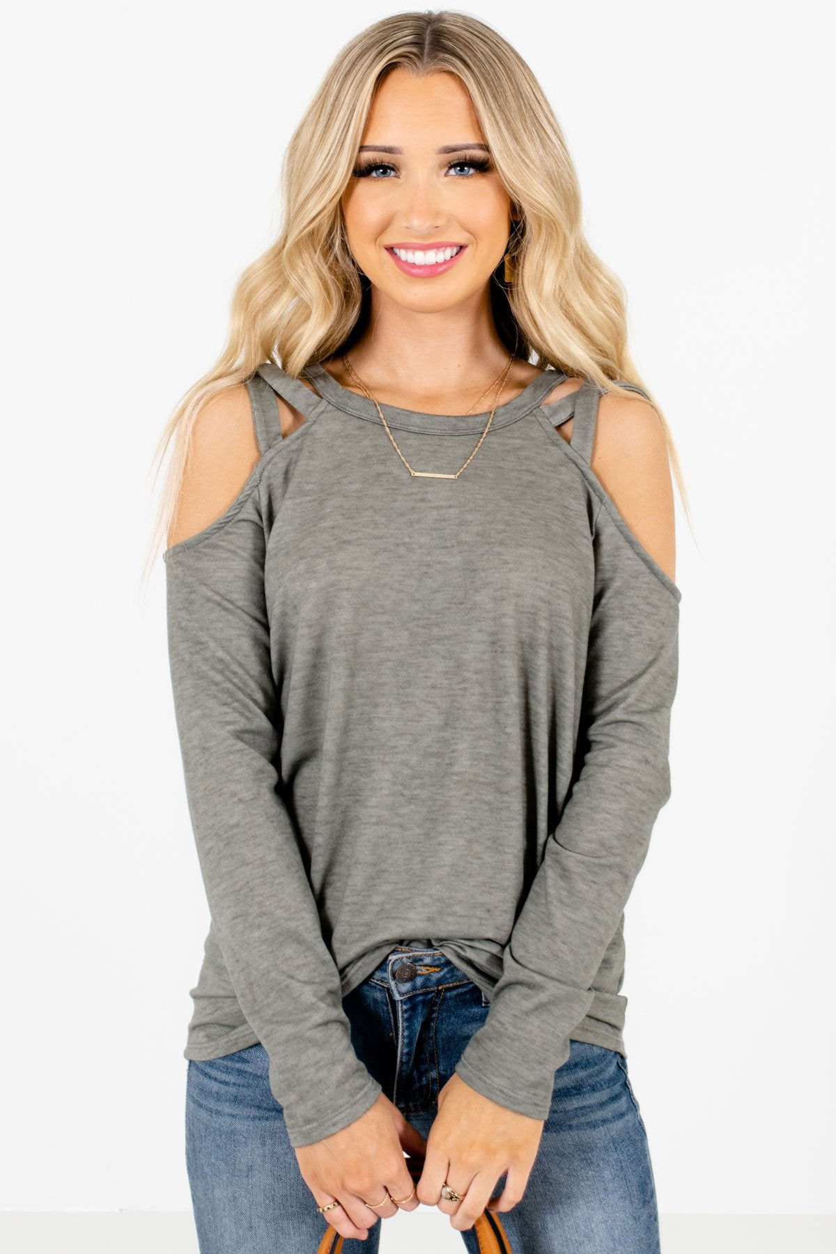 Green Cold Shoulder Style Boutique Tops for Women