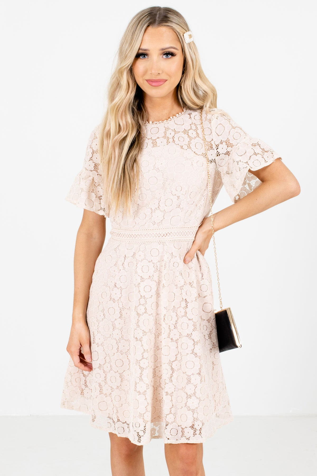 Light Pink High-Quality Lace Material Boutique Knee-Length Dresses for Women