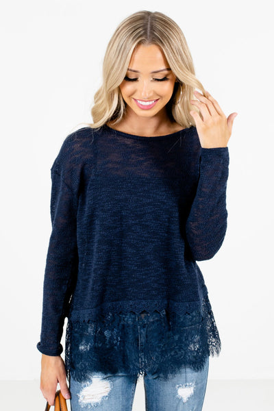 Blue Semi-Sheer Knit Material Boutique Tops for Women