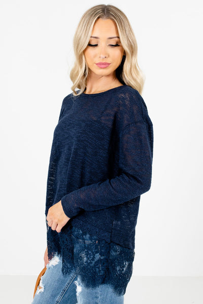 Blue Long Sleeve Boutique Tops for Women