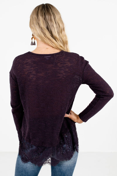 Women's Purple Floral Lace Hem Boutique Tops