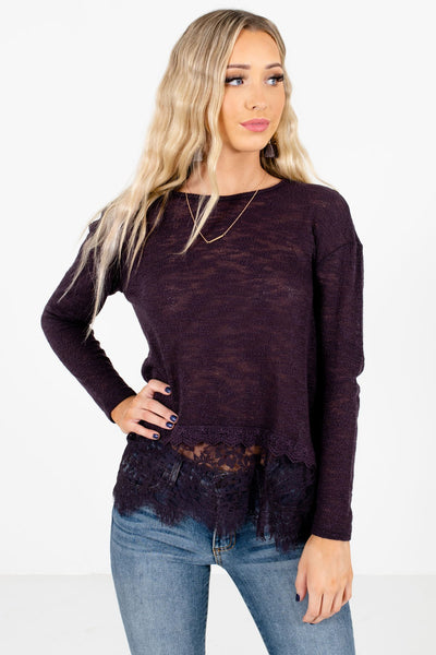 Women's Purple Warm and Cozy Boutique Tops