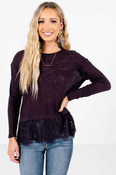 Purple Semi-Sheer Knit Material Boutique Tops for Women