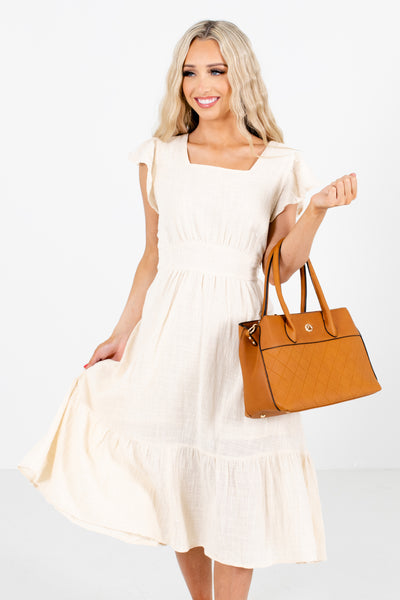 Cream Square Neckline Boutique Midi Dresses for Women