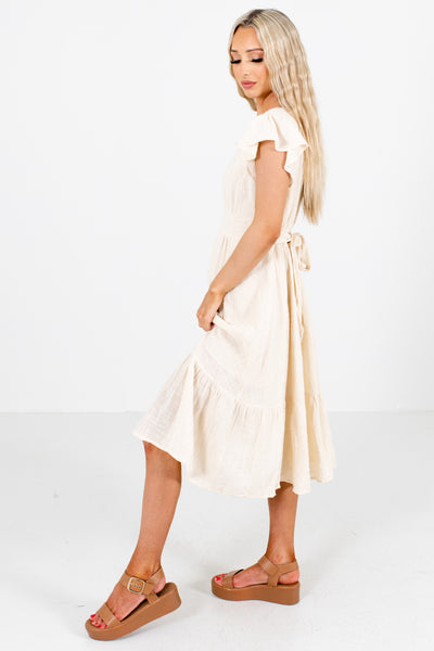 Cream Waist Tie Detailed Boutique Midi Dresses for Women