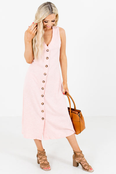 Pink Button-Up Front Boutique Midi Dresses for Women
