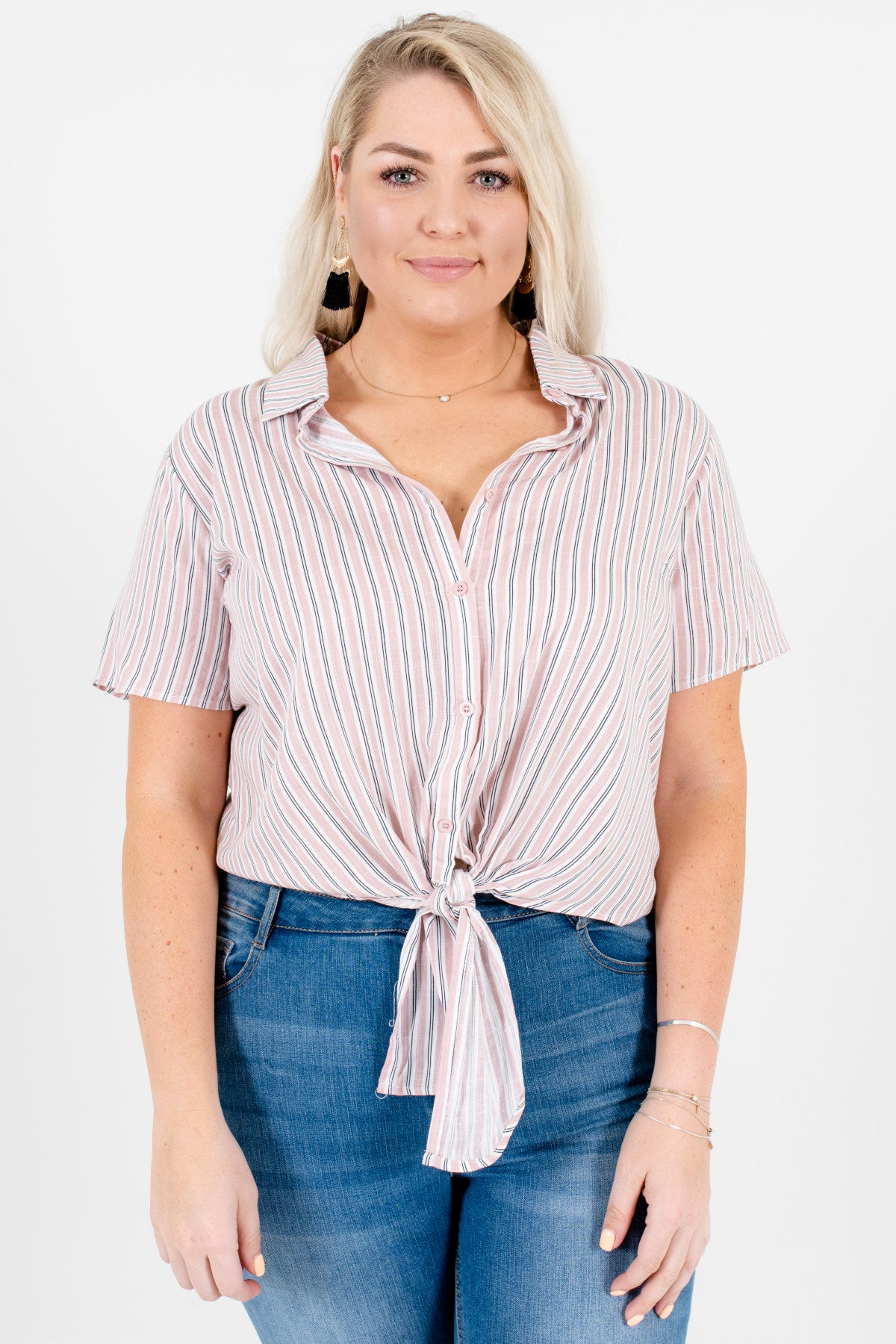 Muted Pink White Black Striped Plus Size Button-Up Tie-Front Shirts