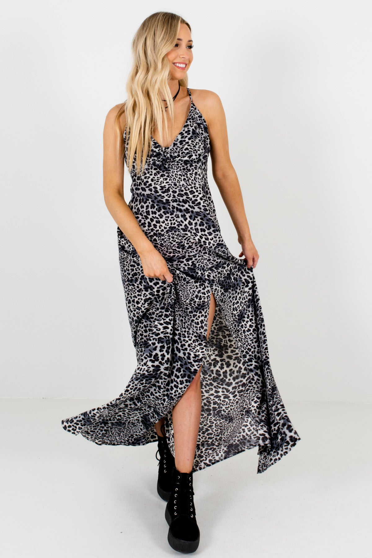 Gray Leopard Print Animal Print Boutique Maxi Dresses for Parties