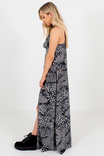Gray Black Leopard Print Maxi Dresses Affordable Online Boutique