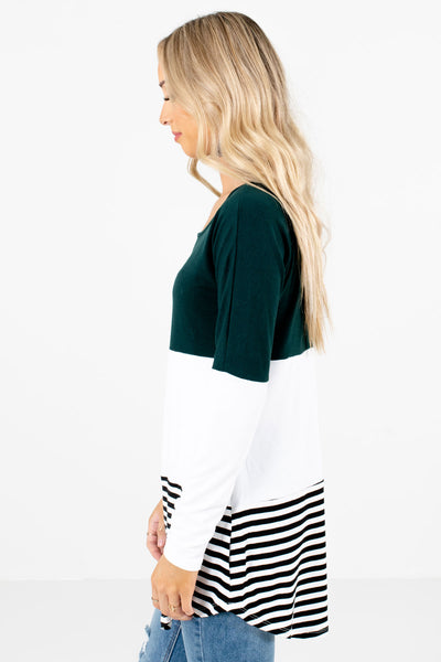 Teal Long Sleeve Boutique Tops for Women