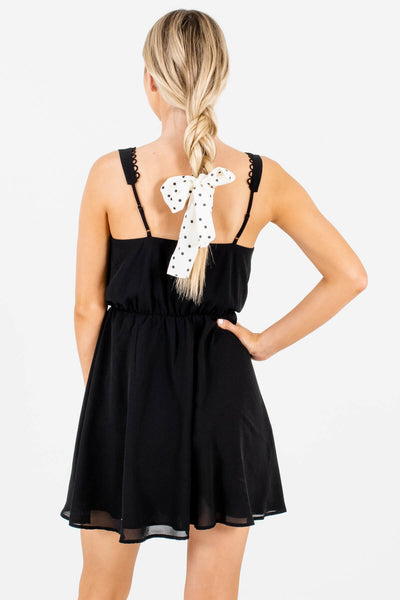 Women's Black Adjustable Strap Boutique Mini Dress