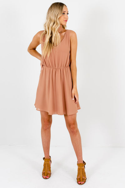 Muted Orange Cute and Comfortable Boutique Mini Dresses for Women