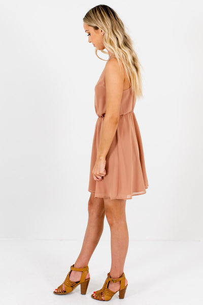 Muted Orange Scalloped V-Neckline Boutique Mini Dresses for Women