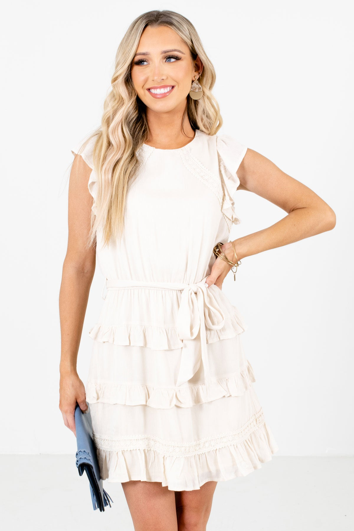 Cream Ruffle Accented Boutique Mini Dresses for Women