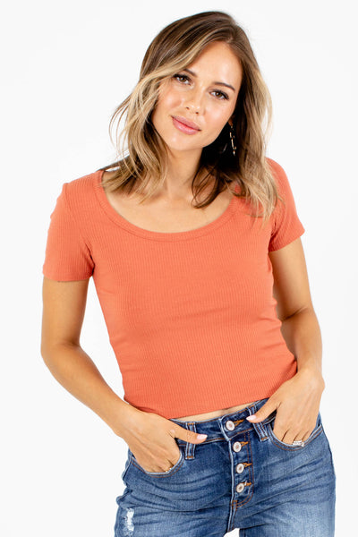 Orange Cute and Comfortable Boutique Crop Tops for Women