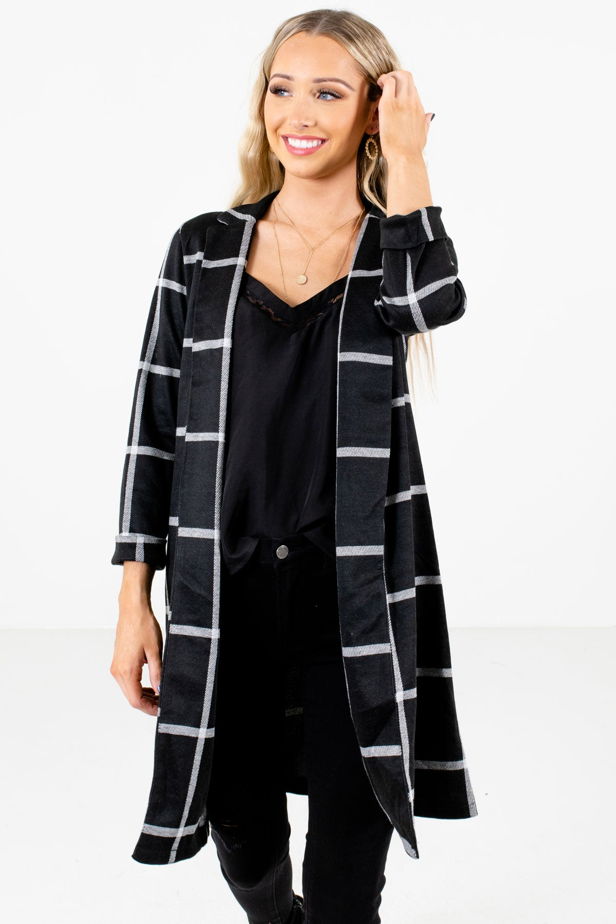 Black and White Plaid Patterned Boutique Blazers for Women