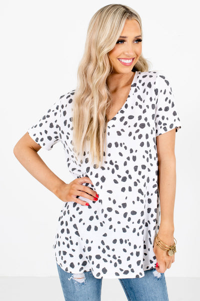 White High-Low Hem Boutique Tops for Women