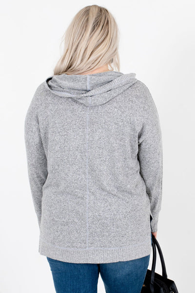 Women's Heather Gray Hooded Boutique Tops