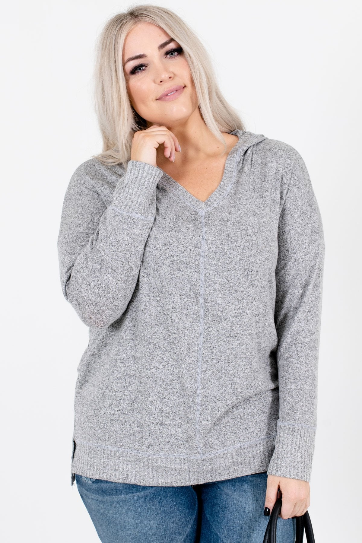 Heather Gray Split High-Low Hem Boutique Tops for Women