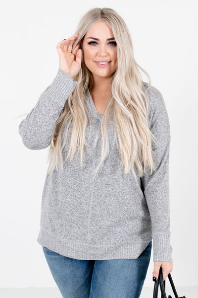 Women's Heather Gray Soft High-Quality Material Boutique Tops