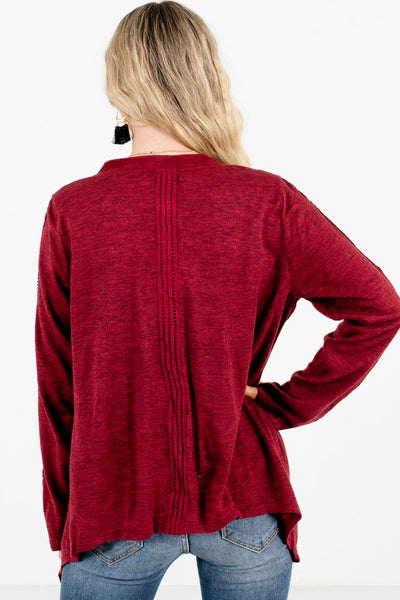 Women's Burgundy Suede Detailed Boutique Cardigan