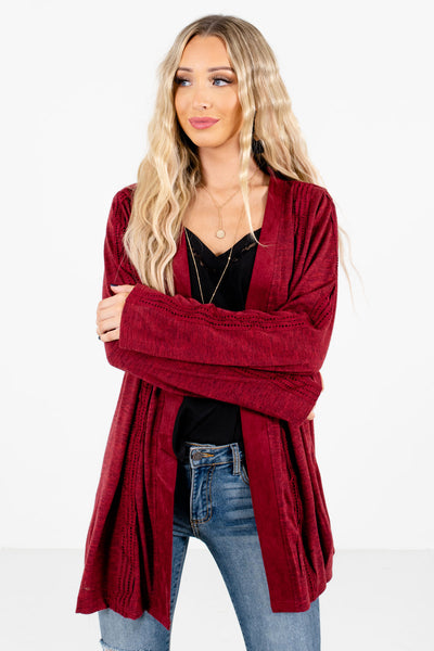 Women's Burgundy Long Sleeve Boutique Cardigan