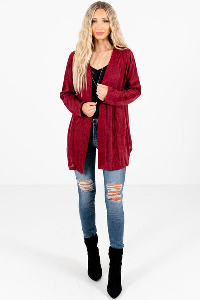 Burgundy Cute and Comfortable Boutique Cardigans for Women