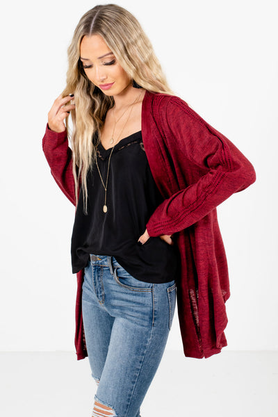 Women's Burgundy Layering Boutique Cardigans