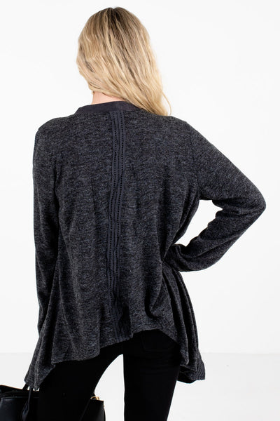 Women's Charcoal Gray Suede Detailed Boutique Cardigan