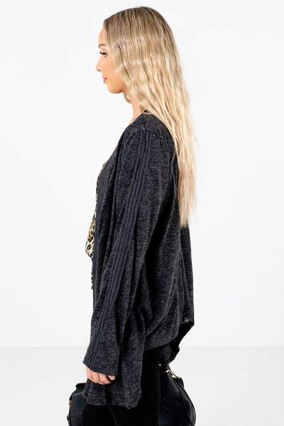 Charcoal Gray Warm and Cozy Boutique Cardigans for Women